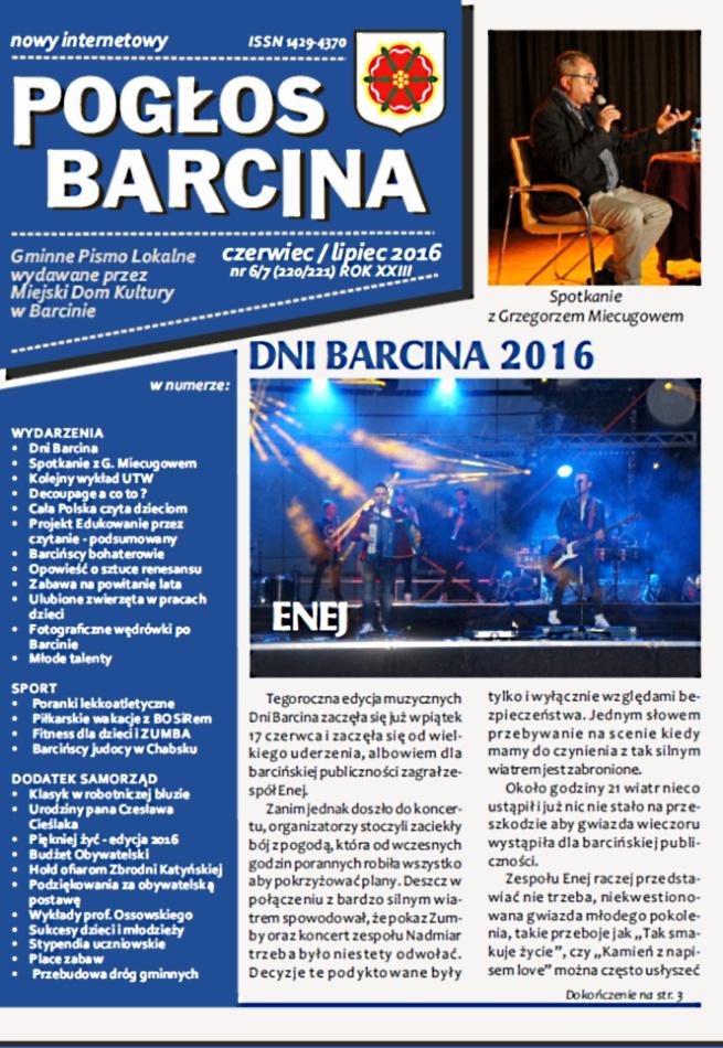 Pogłos Barcina - czerwiec/lipiec 2016