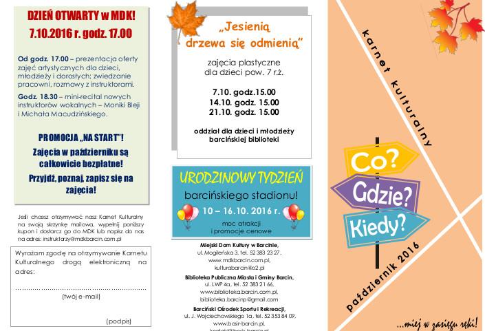 karnet kulturalny -  październik 2016